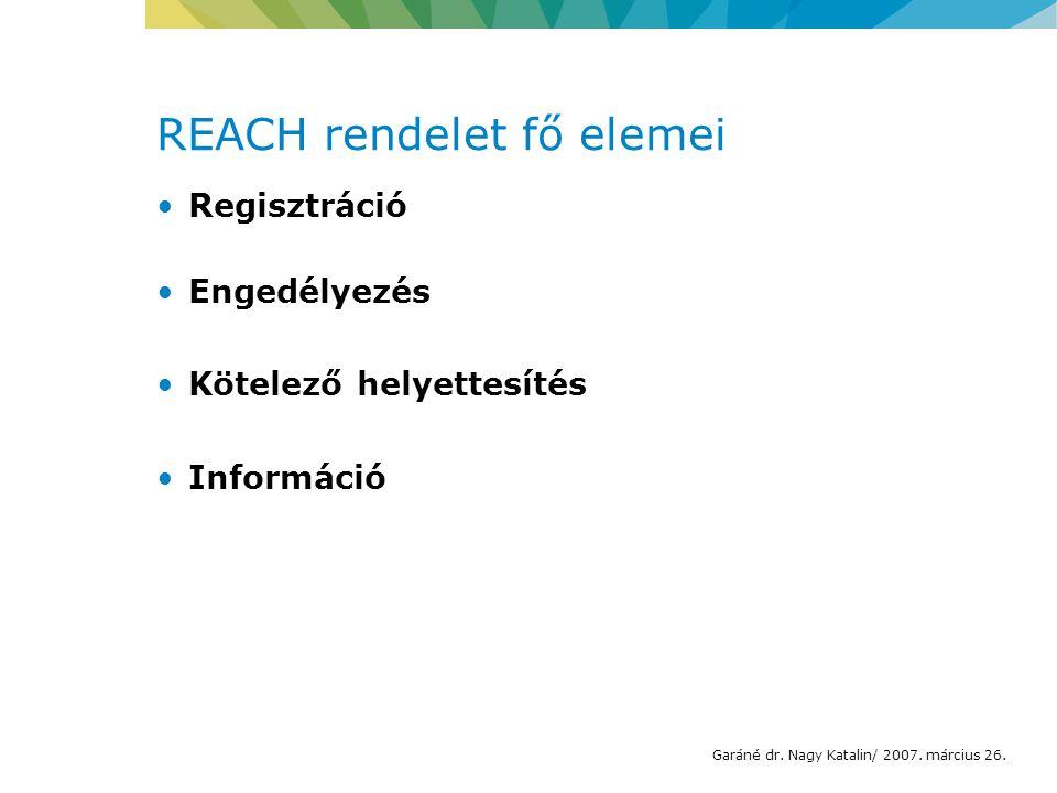 REACH rendelet fő elemei Regisztráció Engedélyezés Kötelező helyettesítés Információ Garáné dr.