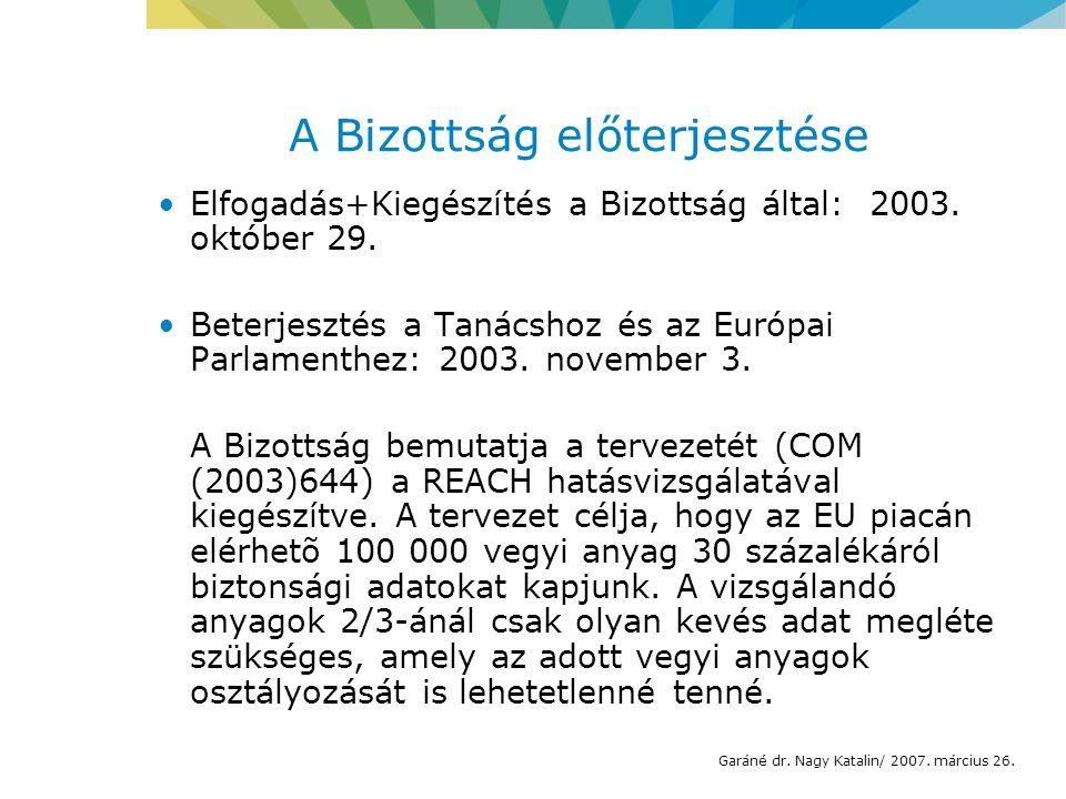 A Bizottság előterjesztése Elfogadás+Kiegészítés a Bizottság által: 2003.