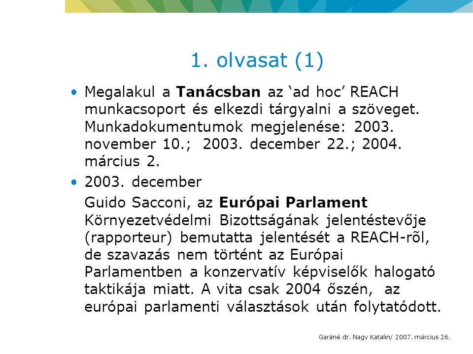 1. olvasat (1) Megalakul a Tanácsban az 'ad hoc' REACH munkacsoport és elkezdi tárgyalni a szöveget. Munkadokumentumok megjelenése: 2003. november 10.