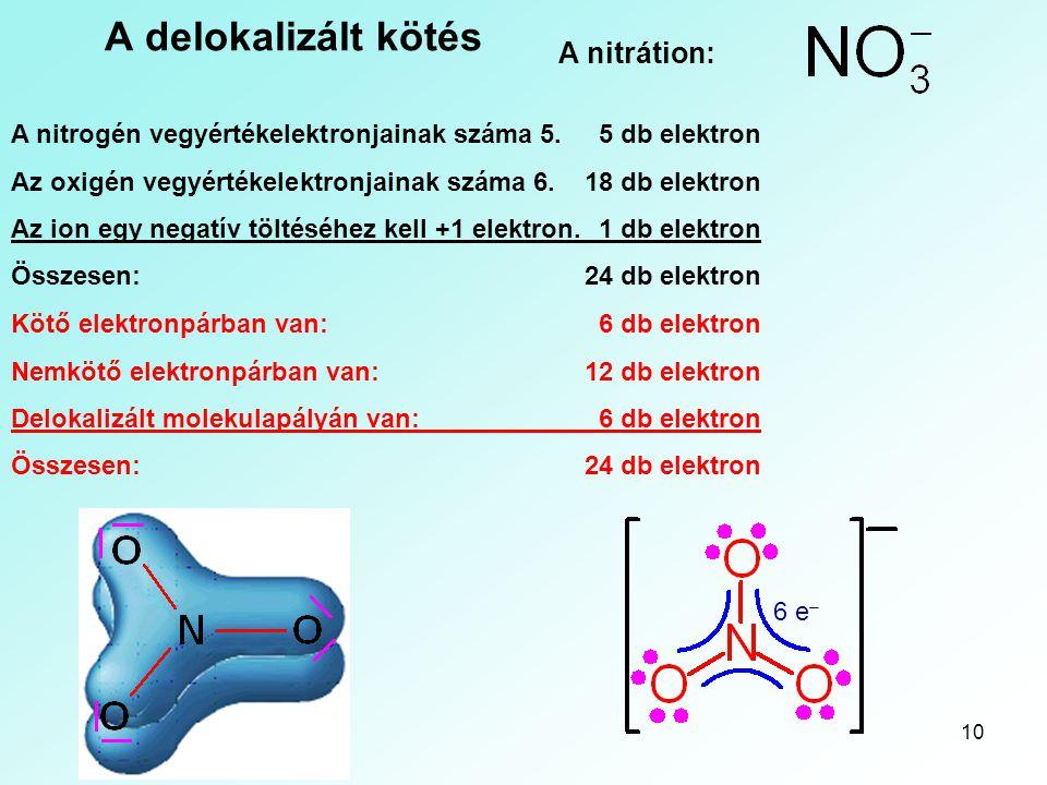 10 A delokalizált kötés A nitrátion: A nitrogén vegyértékelektronjainak száma 5.5 db elektron Az oxigén vegyértékelektronjainak száma 6.18 db elektron