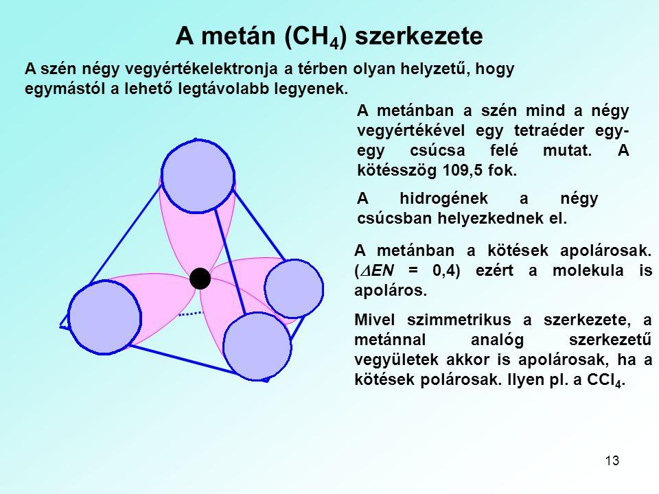 13 A metán (CH 4 ) szerkezete A szén négy vegyértékelektronja a térben olyan helyzetű, hogy egymástól a lehető legtávolabb legyenek. A metánban a szén