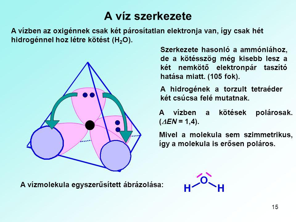 15 A víz szerkezete A vízben az oxigénnek csak két párosítatlan elektronja van, így csak hét hidrogénnel hoz létre kötést (H 2 O). Szerkezete hasonló