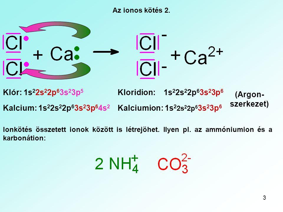 3 Az ionos kötés 2. Klór: 1s 2 2s 2 2p 6 3s 2 3p 5 Kalcium: 1s 2 2s 2 2p 6 3s 2 3p 6 4s 2 Kloridion: 1s 2 2s 2 2p 6 3s 2 3p 6 Kalciumion: 1s 2 2s 2 2p