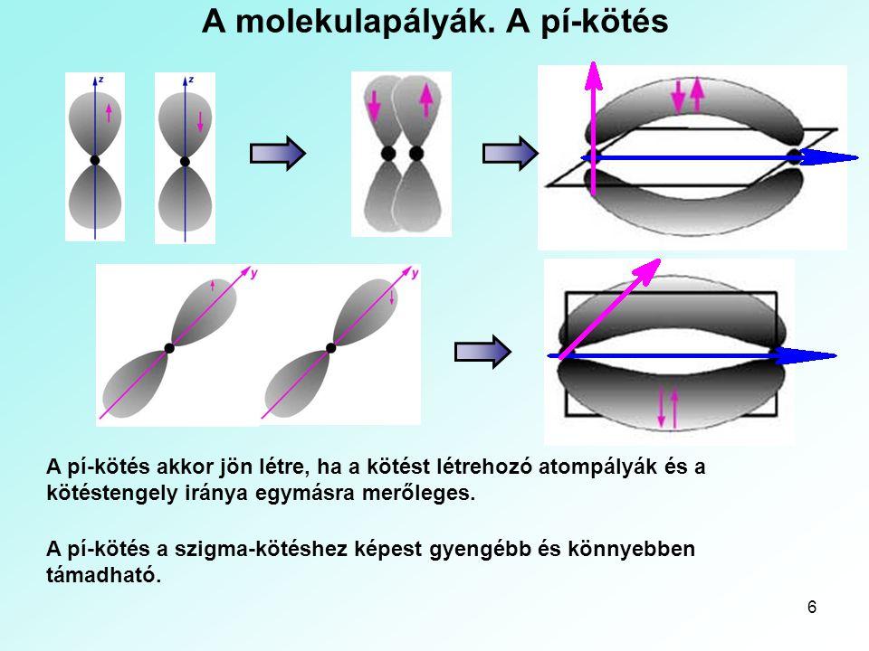 6 A molekulapályák. A pí-kötés A pí-kötés akkor jön létre, ha a kötést létrehozó atompályák és a kötéstengely iránya egymásra merőleges. A pí-kötés a