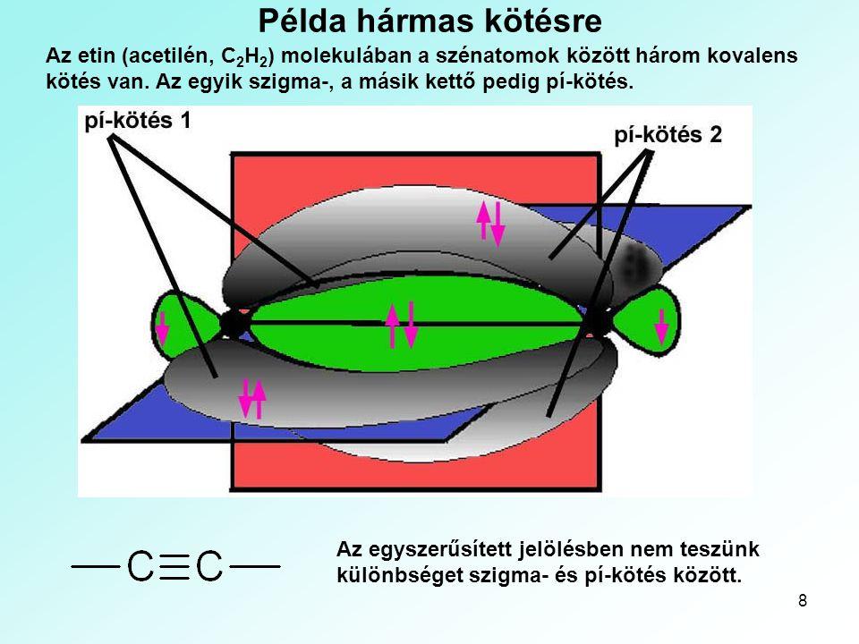 8 Példa hármas kötésre Az etin (acetilén, C 2 H 2 ) molekulában a szénatomok között három kovalens kötés van. Az egyik szigma-, a másik kettő pedig pí