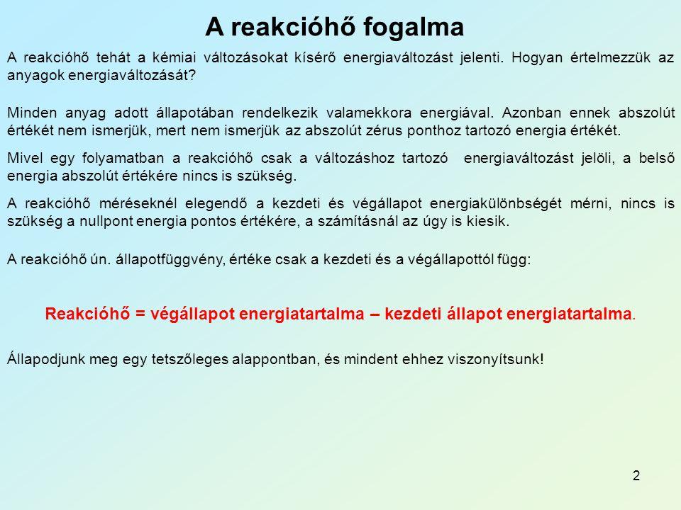 2 A reakcióhő fogalma A reakcióhő tehát a kémiai változásokat kísérő energiaváltozást jelenti.