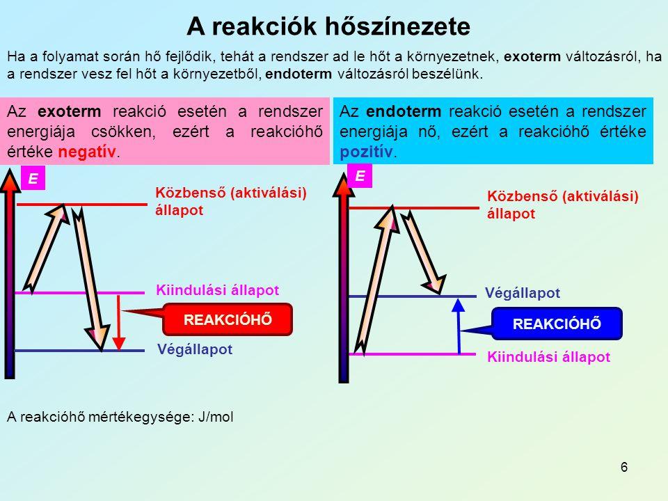 7 A reakcióhő számítása A reakcióhő állapotfüggvény, értéke csak a kiindulási és a végállapottól függ.