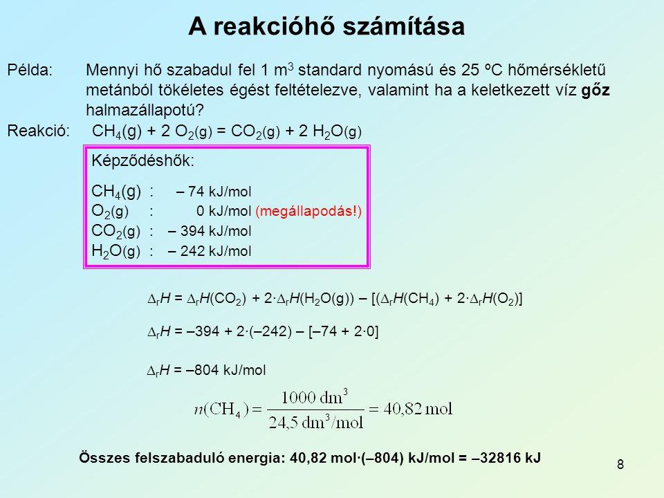 8 A reakcióhő számítása Példa:Mennyi hő szabadul fel 1 m 3 standard nyomású és 25 ºC hőmérsékletű metánból tökéletes égést feltételezve, valamint ha a