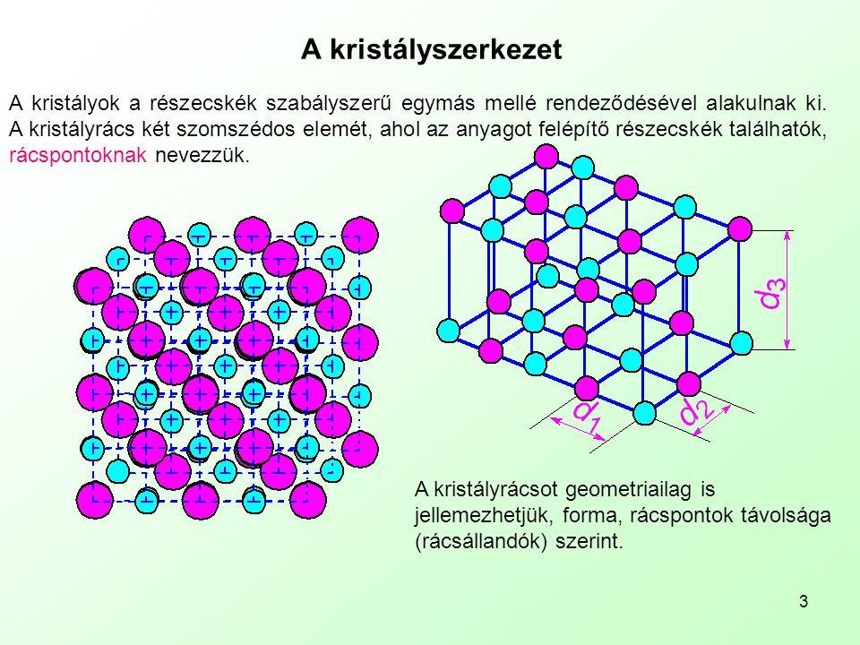 3 A kristályszerkezet A kristályok a részecskék szabályszerű egymás mellé rendeződésével alakulnak ki. A kristályrács két szomszédos elemét, ahol az a