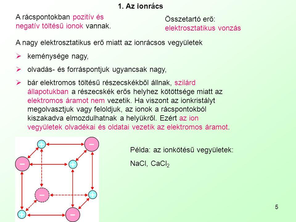 5 1. Az ionrács A rácspontokban pozitív és negatív töltésű ionok vannak. Összetartó erő: elektrosztatikus vonzás A nagy elektrosztatikus erő miatt az
