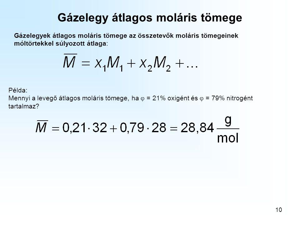 10 Gázelegy átlagos moláris tömege Gázelegyek átlagos moláris tömege az összetevők moláris tömegeinek móltörtekkel súlyozott átlaga: Példa: Mennyi a l