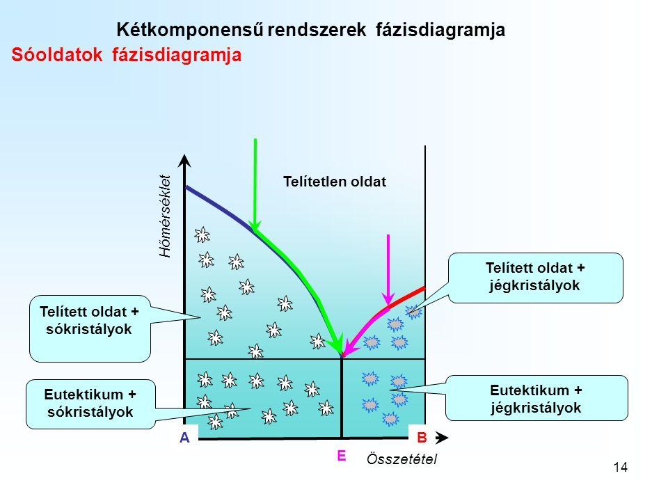 14 Hőmérséklet Összetétel A B Telítetlen oldat Kétkomponensű rendszerek fázisdiagramja Sóoldatok fázisdiagramja E Telített oldat + sókristályok Eutekt