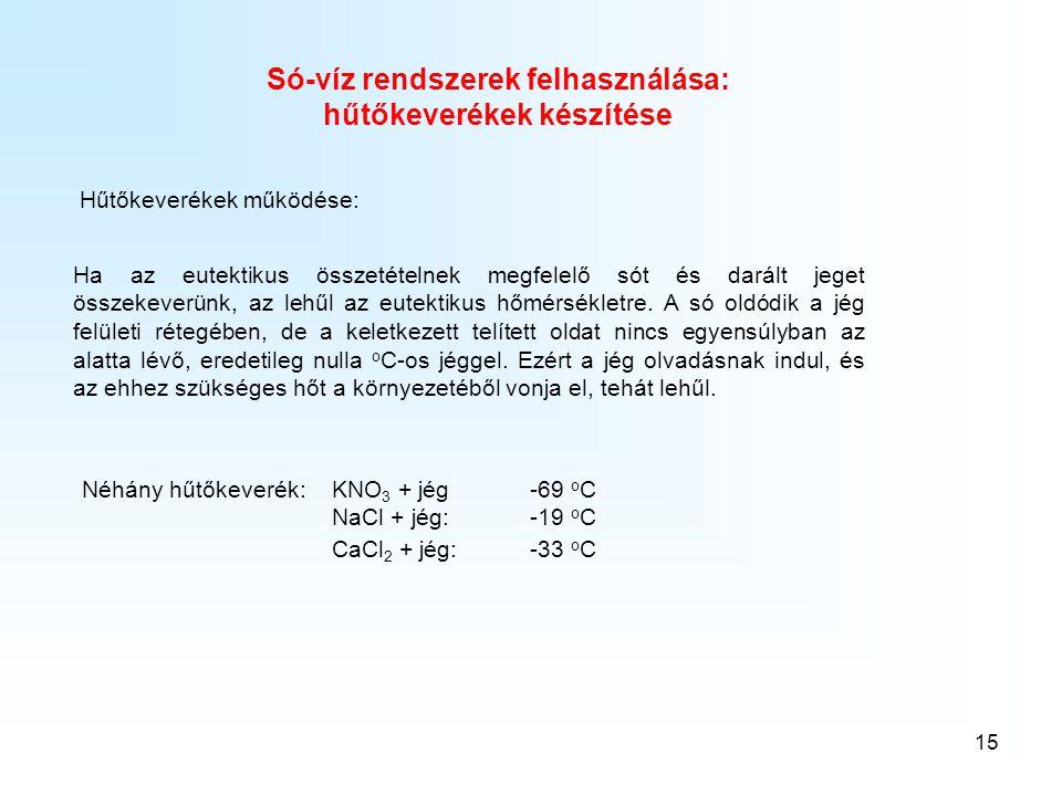 15 Hűtőkeverékek működése: Só-víz rendszerek felhasználása: hűtőkeverékek készítése Ha az eutektikus összetételnek megfelelő sót és darált jeget össze