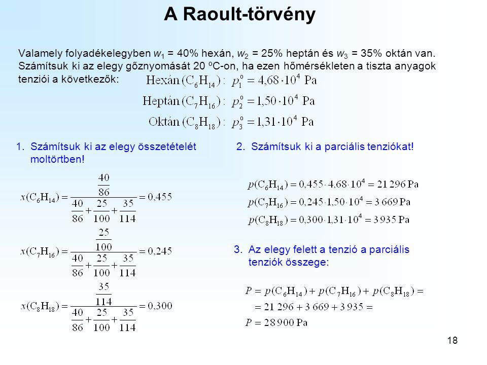 18 A Raoult-törvény Valamely folyadékelegyben w 1 = 40% hexán, w 2 = 25% heptán és w 3 = 35% oktán van. Számítsuk ki az elegy gőznyomását 20 ºC-on, ha