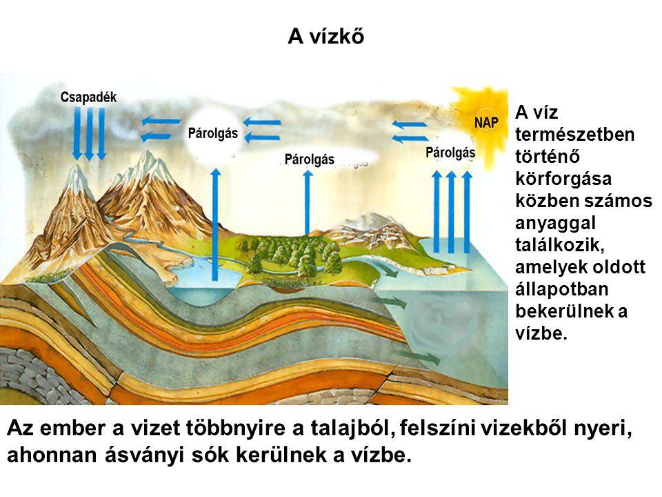 A vízkő A víz természetben történő körforgása közben számos anyaggal találkozik, amelyek oldott állapotban bekerülnek a vízbe. Az ember a vizet többny