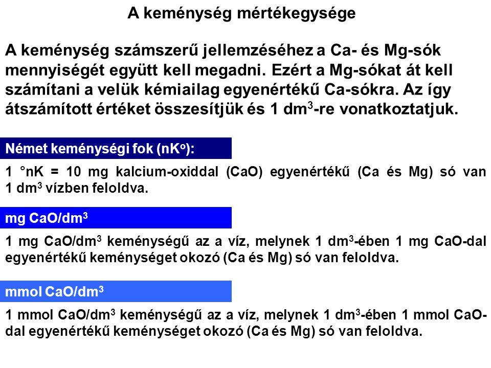 A keménység mértékegysége A keménység számszerű jellemzéséhez a Ca- és Mg-sók mennyiségét együtt kell megadni. Ezért a Mg-sókat át kell számítani a ve