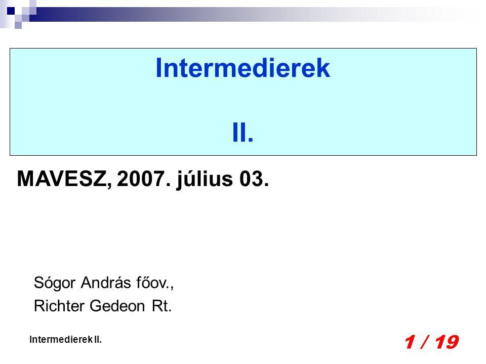 1 / 19 Intermedierek II. Sógor András főov., Richter Gedeon Rt. MAVESZ, 2007. július 03.