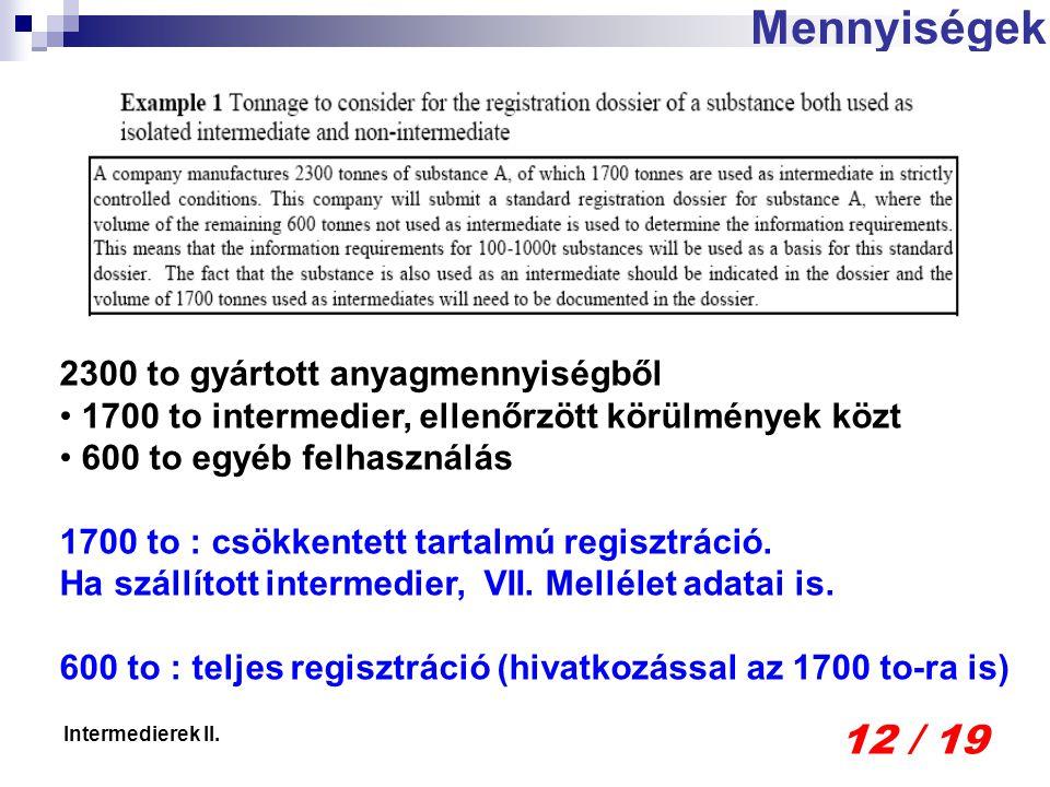 12 / 19 Intermedierek II. Mennyiségek 2300 to gyártott anyagmennyiségből 1700 to intermedier, ellenőrzött körülmények közt 600 to egyéb felhasználás 1