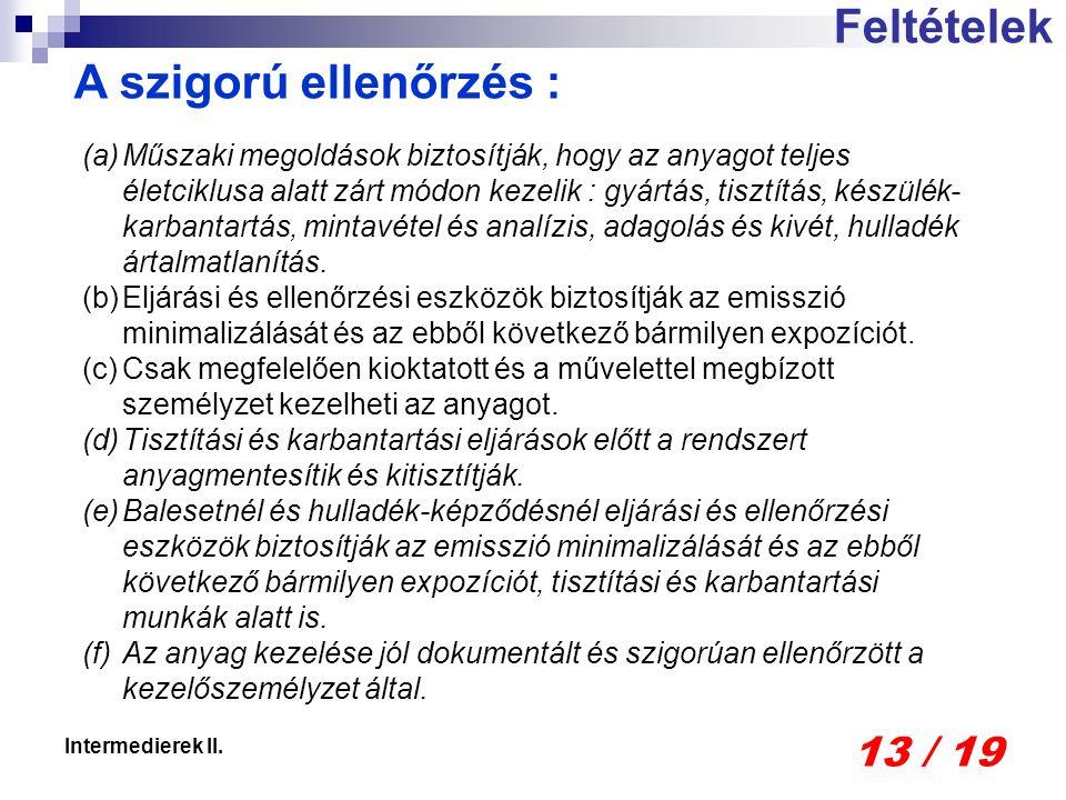13 / 19 Intermedierek II.