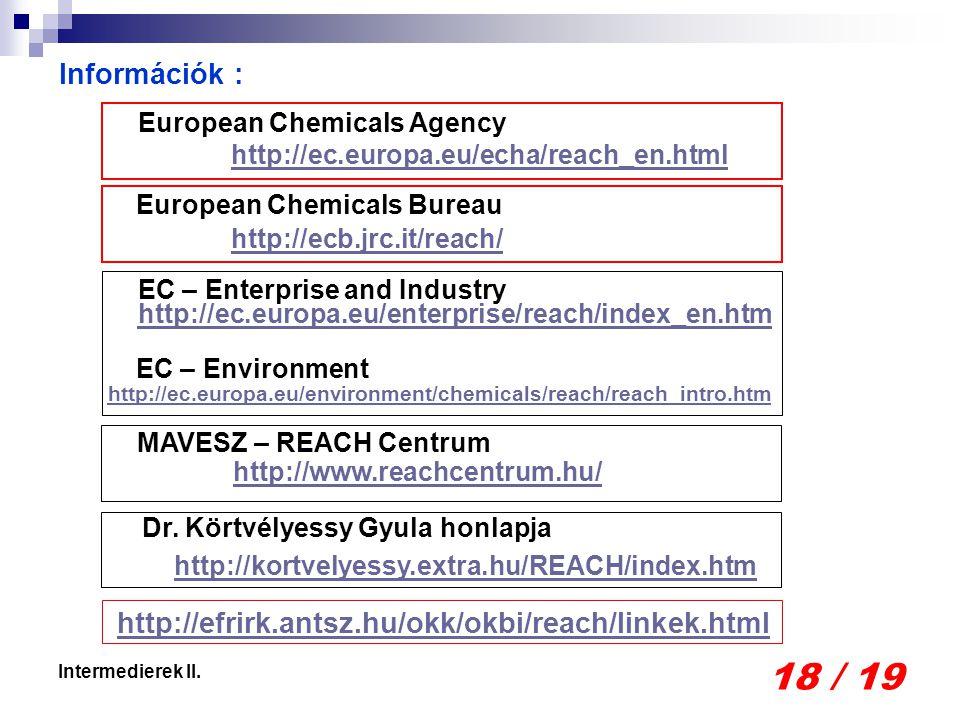 18 / 19 Intermedierek II. Információk : MAVESZ – REACH Centrum http://www.reachcentrum.hu/ European Chemicals Bureau http://ecb.jrc.it/reach/ European
