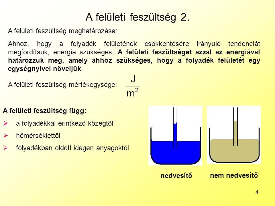 4 A felületi feszültség 2. A felületi feszültség meghatározása: Ahhoz, hogy a folyadék felületének csökkentésére irányuló tendenciát megfordítsuk, ene
