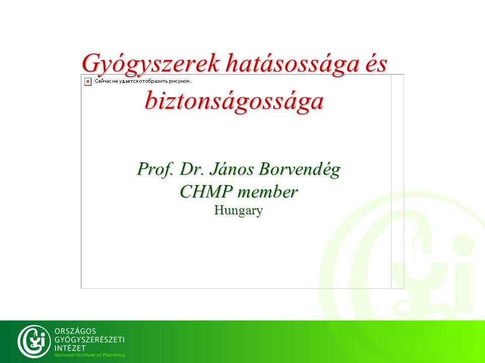 Gyógyszerek hatásossága és biztonságossága Prof. Dr. János Borvendég CHMP member Hungary