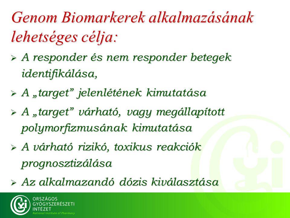 """Genom Biomarkerek alkalmazásának lehetséges célja:  A responder és nem responder betegek identifikálása,  A """"target"""" jelenlétének kimutatása  A """"ta"""