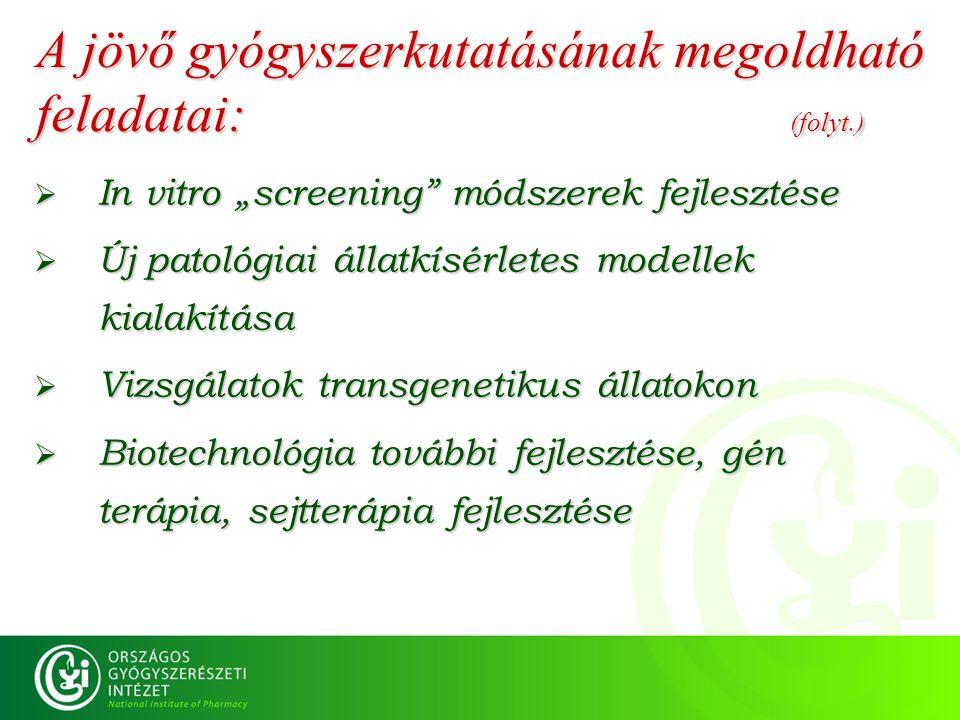 """A jövő gyógyszerkutatásának megoldható feladatai: (folyt.)  In vitro """"screening"""" módszerek fejlesztése  Új patológiai állatkísérletes modellek kiala"""