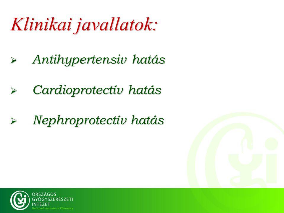 Klinikai javallatok:  Antihypertensiv hatás  Cardioprotectív hatás  Nephroprotectív hatás