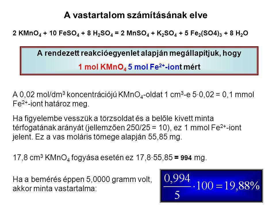 A vastartalom számításának elve 2 KMnO 4 + 10 FeSO 4 + 8 H 2 SO 4 = 2 MnSO 4 + K 2 SO 4 + 5 Fe 2 (SO4) 3 + 8 H 2 O A rendezett reakcióegyenlet alapján