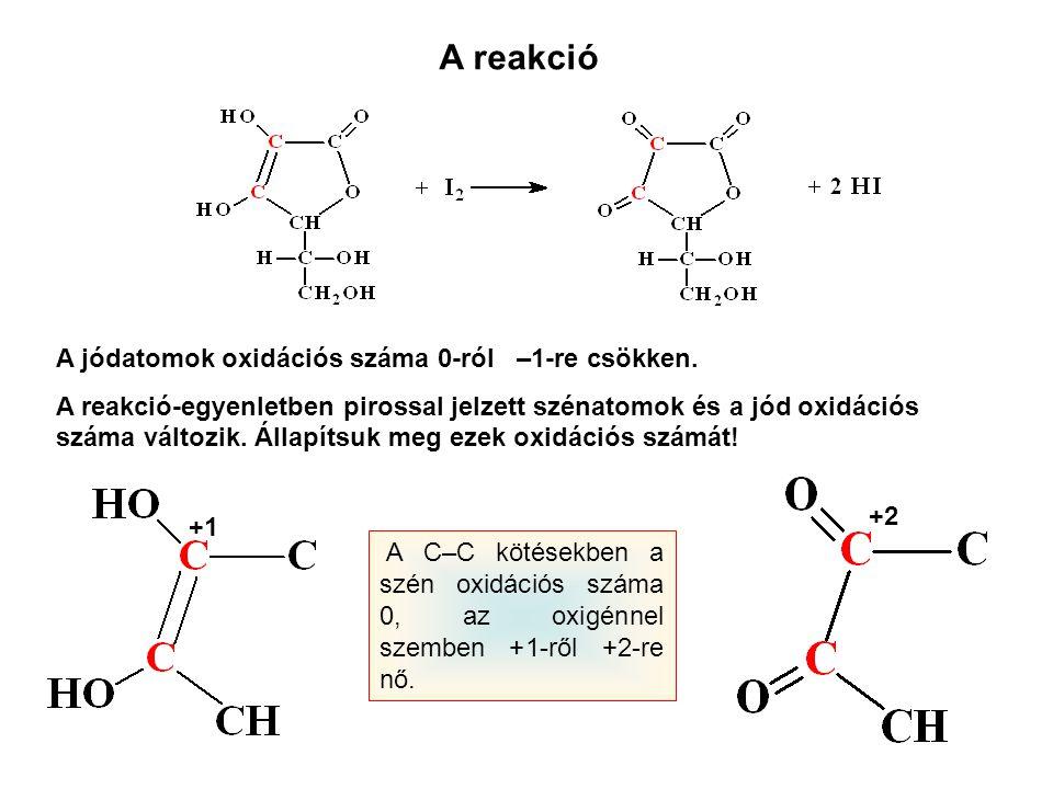 A reakcióegyenlet Oxidációs szám megállapítása: 2 C +1 2 C +2 –2 e – I20I20 2 I – +2 e – Mivel a felvett és leadott elektronok száma megegyezik, így az együtthatókon nem kell változtatni.