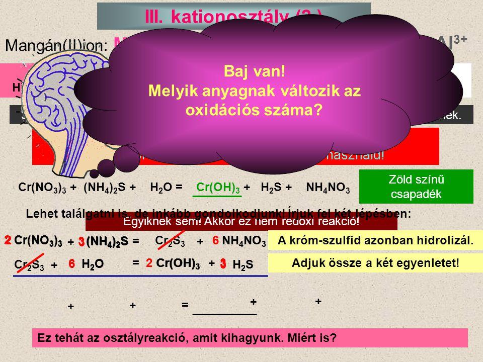 A Mn 2+ és Al 3+ osztályreakciója testszínű (drapp) csapadék Mn(NO 3 ) 2 + (NH 4 ) 2 S = MnS + NH 4 NO 3 2 Al(NO 3 ) 3 + (NH 4 ) 2 S + H 2 O = Al(OH) 3 + H 2 S + NH 4 NO 3 Rendezés találgatással: 1.
