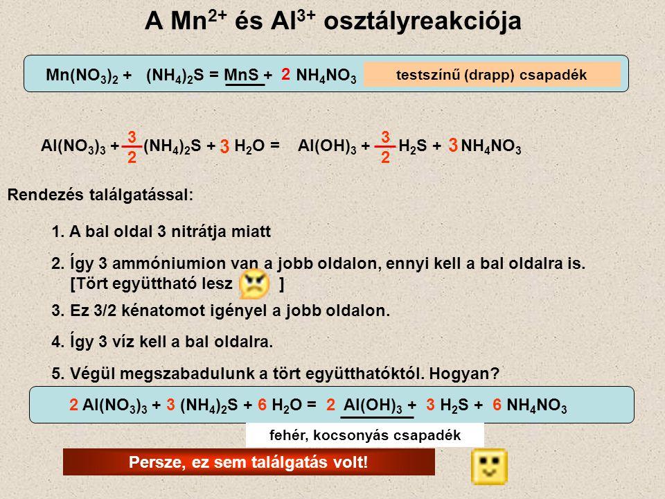 A Mn 2+ és Al 3+ osztályreakciója testszínű (drapp) csapadék Mn(NO 3 ) 2 + (NH 4 ) 2 S = MnS + NH 4 NO 3 2 Al(NO 3 ) 3 + (NH 4 ) 2 S + H 2 O = Al(OH)