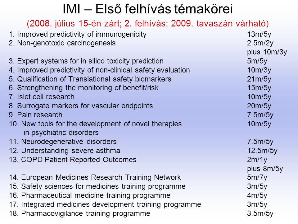 IMI – Első felhívás témakörei (2008. július 15-én zárt; 2. felhívás: 2009. tavaszán várható) 1. Improved predictivity of immunogenicity 13m/5y 2. Non-
