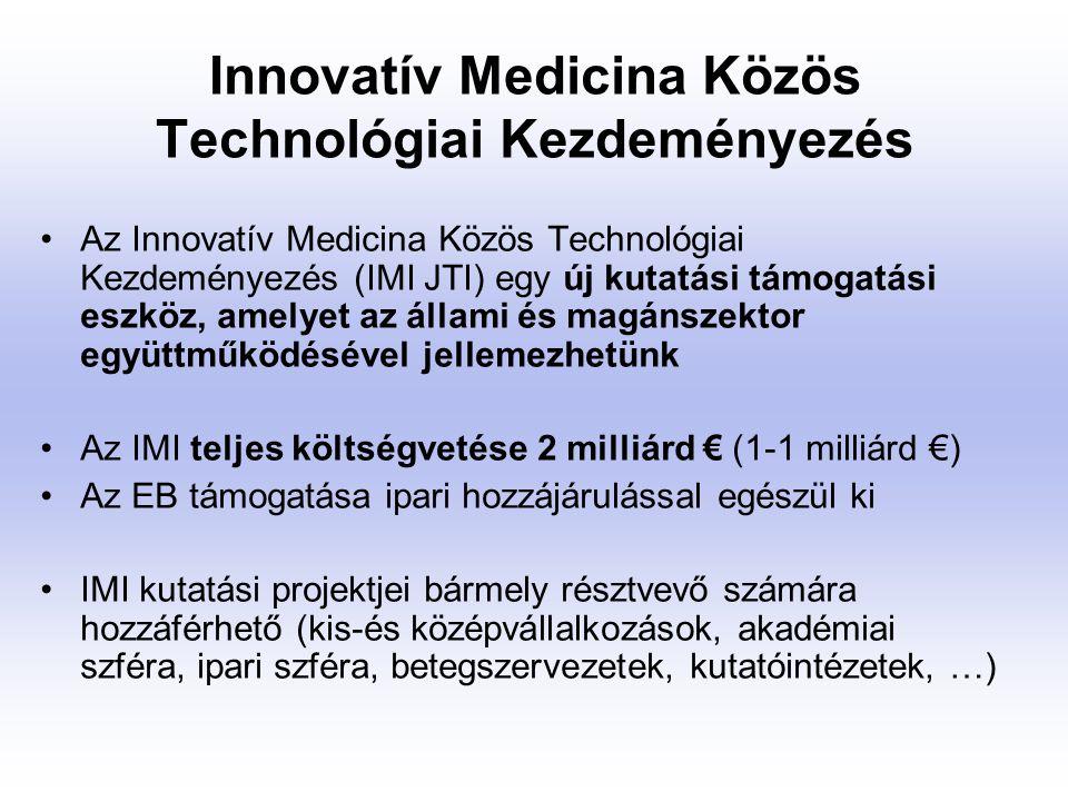 Innovatív Medicina Közös Technológiai Kezdeményezés Hosszútávú célok: Az európai gyógyszeripar versenyképességének növelése, továbbá előmozdítani, hogy Európa a gyógyszeripari K+F legvonzóbb térségévé váljék.