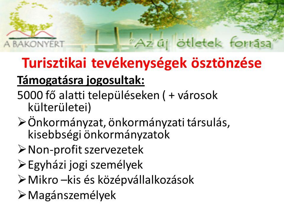 Turisztikai tevékenységek ösztönzése Támogatásra jogosultak: 5000 fő alatti településeken ( + városok külterületei)  Önkormányzat, önkormányzati társ