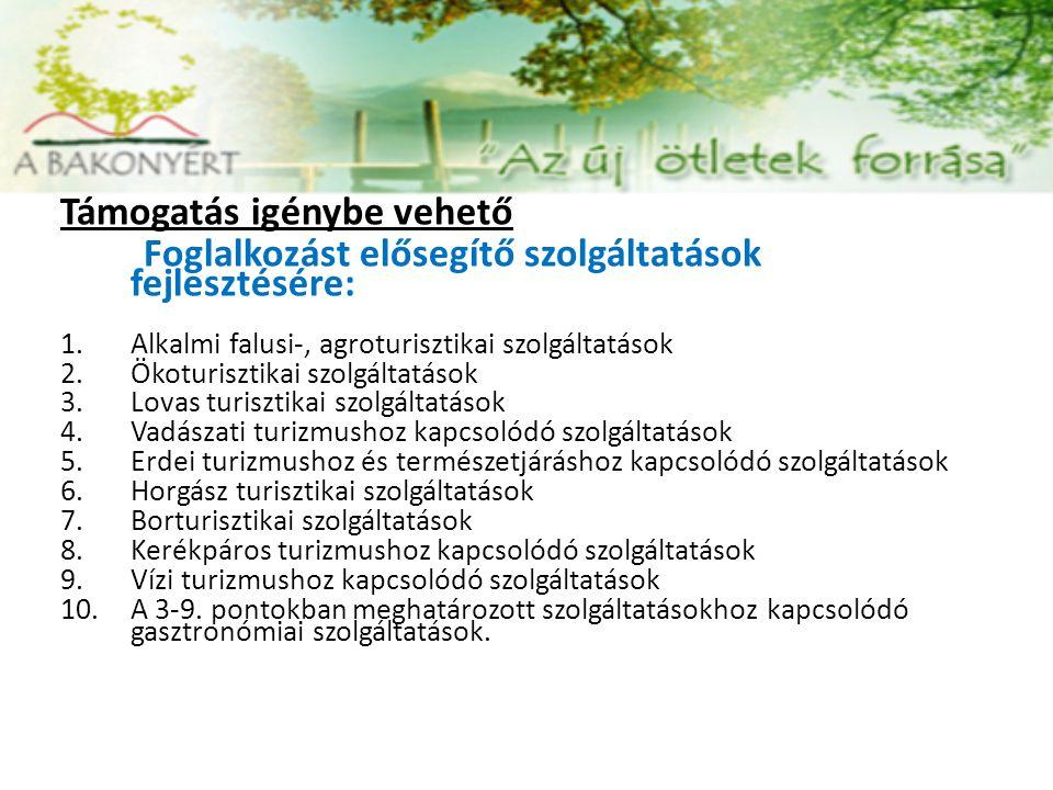 Támogatás igénybe vehető Foglalkozást elősegítő szolgáltatások fejlesztésére: 1.Alkalmi falusi-, agroturisztikai szolgáltatások 2.Ökoturisztikai szolg
