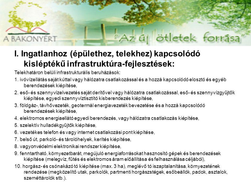 I. Ingatlanhoz (épülethez, telekhez) kapcsolódó kisléptékű infrastruktúra-fejlesztések: Telekhatáron belüli infrastrukturális beruházások: 1. ivóvízel