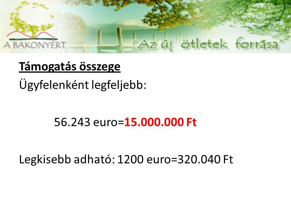 Támogatás összege Ügyfelenként legfeljebb: 20.000.000 Ft - 74.991 euró