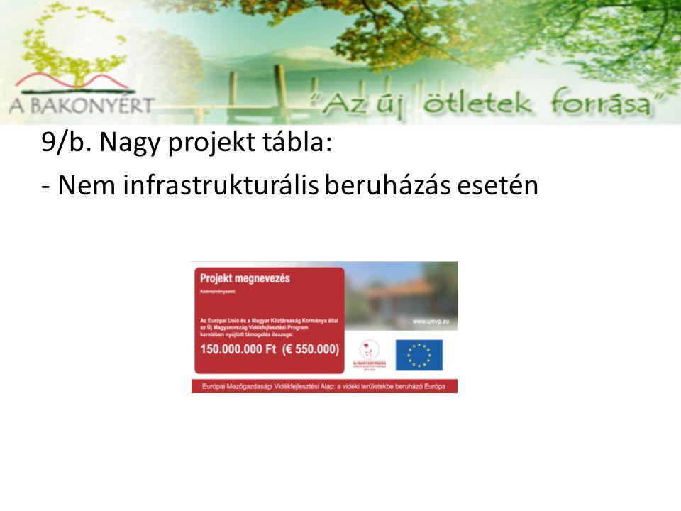 9/b. Nagy projekt tábla: - Nem infrastrukturális beruházás esetén