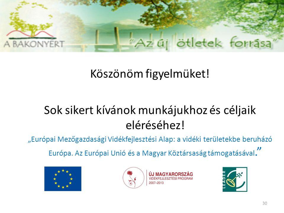 """Köszönöm figyelmüket! Sok sikert kívánok munkájukhoz és céljaik eléréséhez! """"Európai Mezőgazdasági Vidékfejlesztési Alap: a vidéki területekbe beruház"""