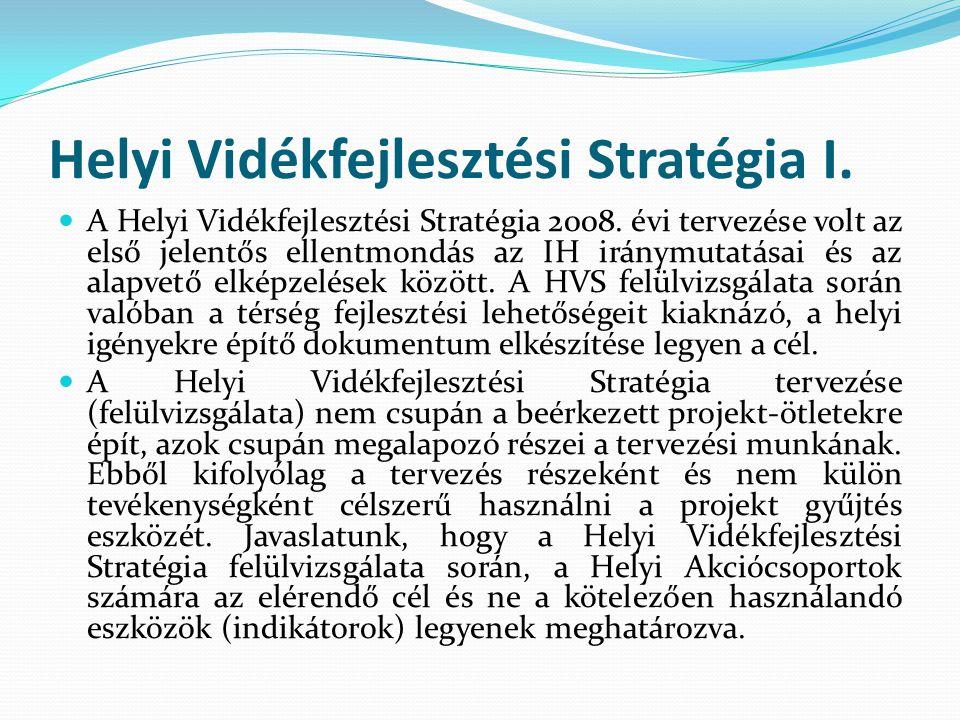 Helyi Vidékfejlesztési Stratégia I. A Helyi Vidékfejlesztési Stratégia 2008.
