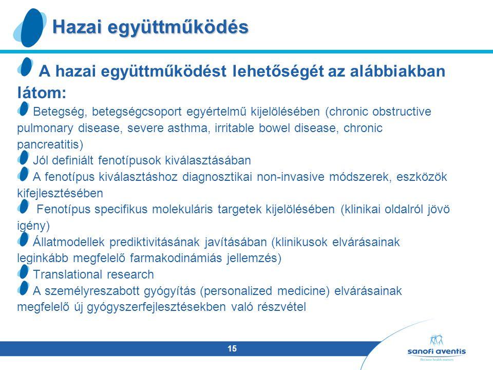 15 A hazai együttműködést lehetőségét az alábbiakban látom: Betegség, betegségcsoport egyértelmű kijelölésében (chronic obstructive pulmonary disease, severe asthma, irritable bowel disease, chronic pancreatitis) Jól definiált fenotípusok kiválasztásában A fenotípus kiválasztáshoz diagnosztikai non-invasive módszerek, eszközök kifejlesztésében Fenotípus specifikus molekuláris targetek kijelölésében (klinikai oldalról jövö igény) Állatmodellek prediktivitásának javításában (klinikusok elvárásainak leginkább megfelelő farmakodinámiás jellemzés) Translational research A személyreszabott gyógyítás (personalized medicine) elvárásainak megfelelő új gyógyszerfejlesztésekben való részvétel Hazai együttműködés