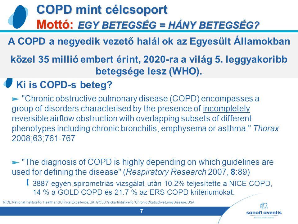 7 COPD mint célcsoport Mottó: EGY BETEGSÉG = HÁNY BETEGSÉG.