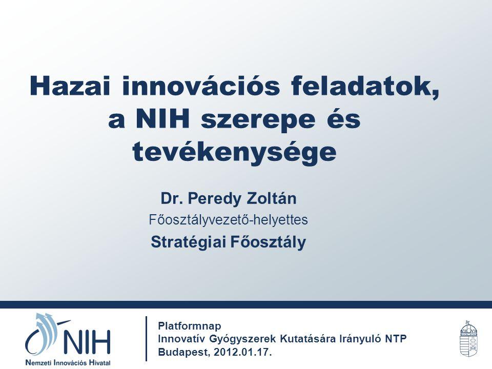 Hazai innovációs feladatok, a NIH szerepe és tevékenysége Dr. Peredy Zoltán Főosztályvezető-helyettes Stratégiai Főosztály Platformnap Innovatív Gyógy
