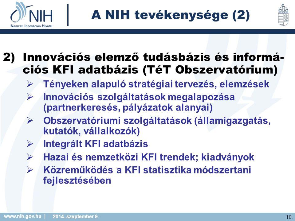 www.nih.gov.hu | 10. 2014. szeptember 9. A NIH tevékenysége (2) 2)Innovációs elemző tudásbázis és informá- ciós KFI adatbázis (TéT Obszervatórium)  T