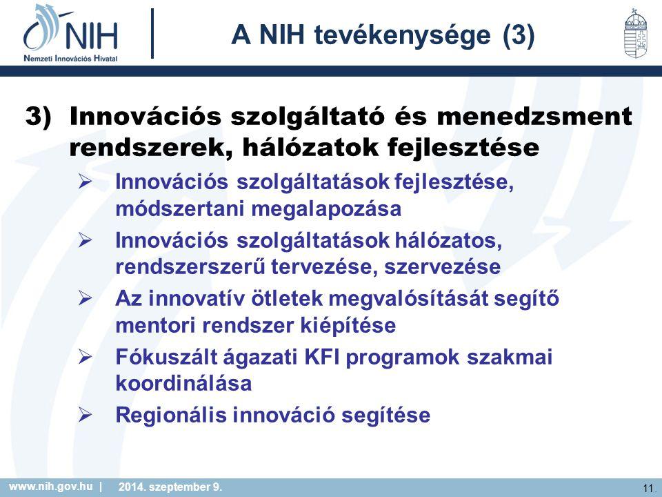 www.nih.gov.hu | 11. 2014. szeptember 9. A NIH tevékenysége (3) 3)Innovációs szolgáltató és menedzsment rendszerek, hálózatok fejlesztése  Innovációs