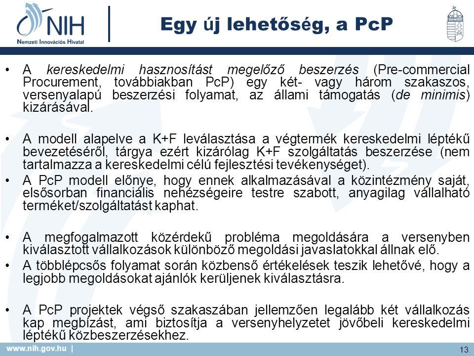 www.nih.gov.hu | 13. Egy ú j lehetős é g, a PcP A kereskedelmi hasznosítást megelőző beszerzés (Pre-commercial Procurement, továbbiakban PcP) egy két-