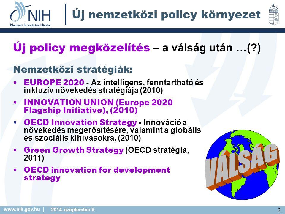www.nih.gov.hu | 2. 2014. szeptember 9. Új nemzetközi policy környezet Nemzetközi stratégiák: EUROPE 2020 - Az intelligens, fenntartható és inkluzív n