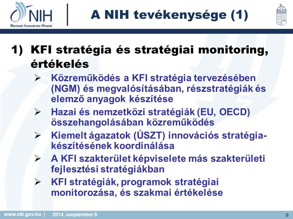 www.nih.gov.hu | 9. 2014. szeptember 9. A NIH tevékenysége (1) 1)KFI stratégia és stratégiai monitoring, értékelés  Közreműködés a KFI stratégia terv
